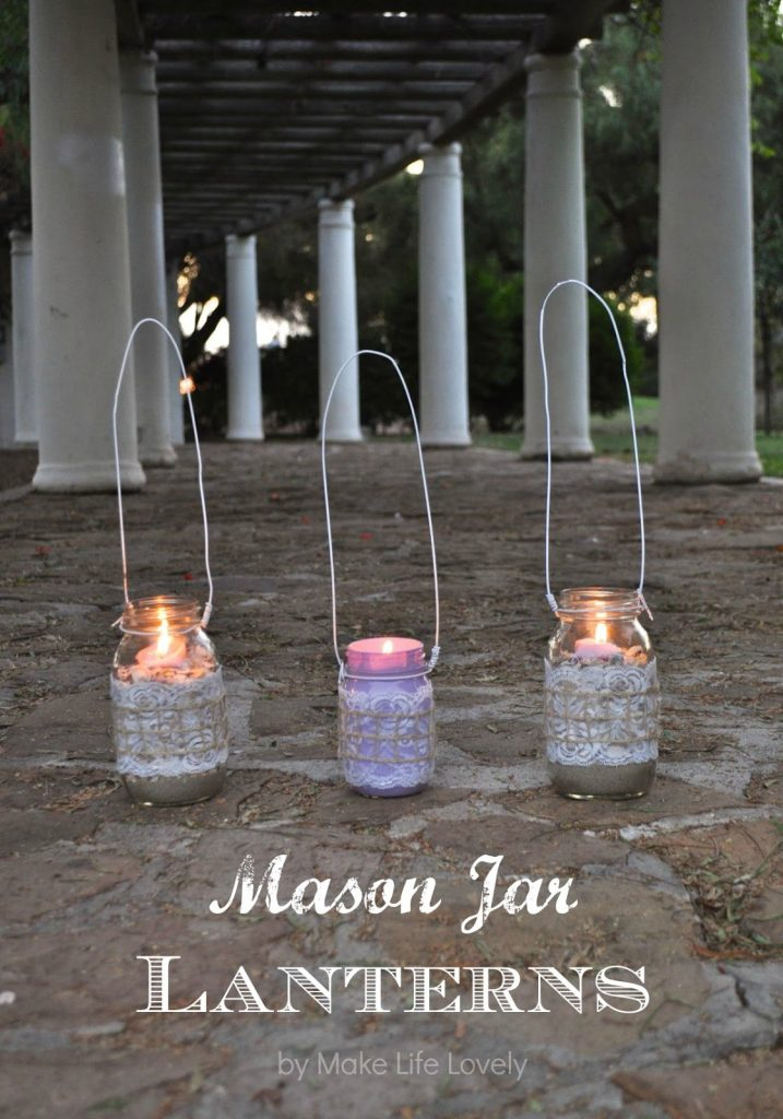 Mason jar lanterns. Make these pretty DIY mason jar lights quickly and easily with this tutorial.