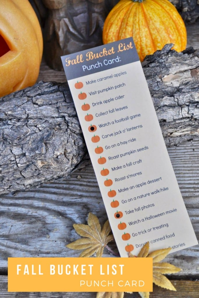Fall bucket list and free printable punch card! You'll love this list of fall activities. Print the free list, then punch the pumpkin with a hole punch next to each activity you complete!