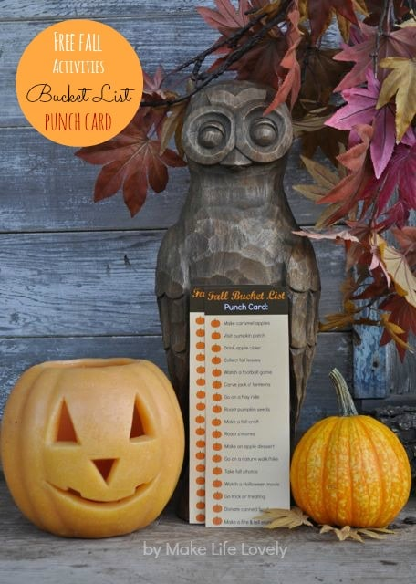 Fall bucket list printable punch card