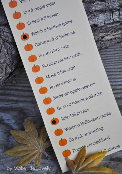 Free printable fall bucket list punch card