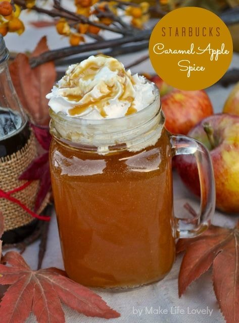 Starbucks caramel apple spice recipe that's perfect for fall! You'll love this fall drink Starbucks copycat recipe that's easy to make.