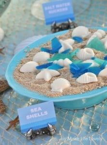 Chocolate sea shells for an ocean or under the sea birthday party