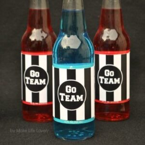 glass bottles with football labels