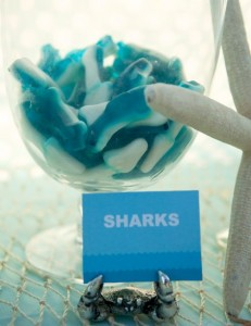 Gummy sharks at the candy bar for an ocean under the sea birthday party