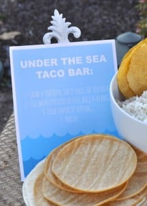 Under the sea birthday party taco bar