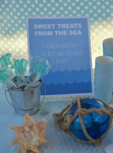 Candy bar at an under the sea birthday party