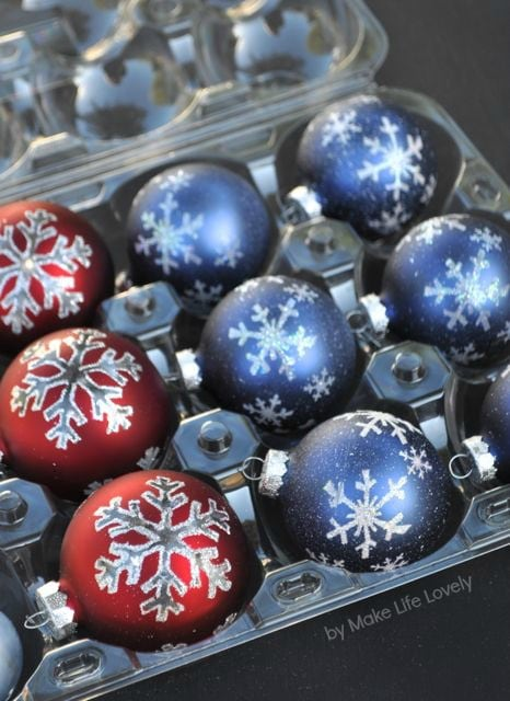 use plastic apple holders for ornament storage by make life lovely