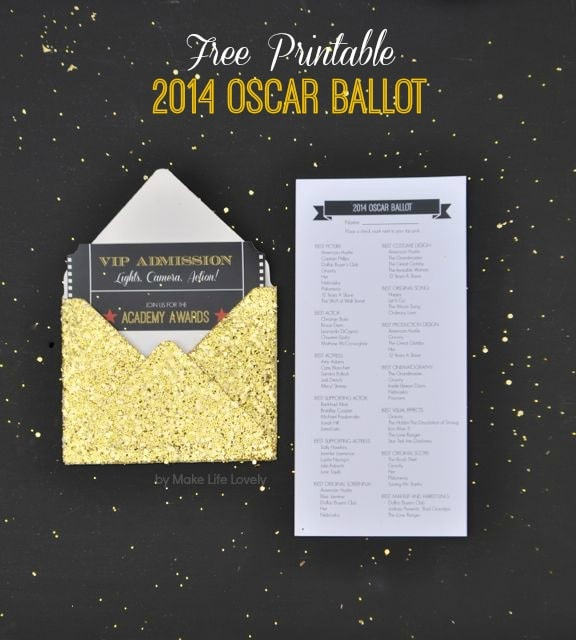Free Printable Oscar Party Invitations + DIY Gold Glitter ...