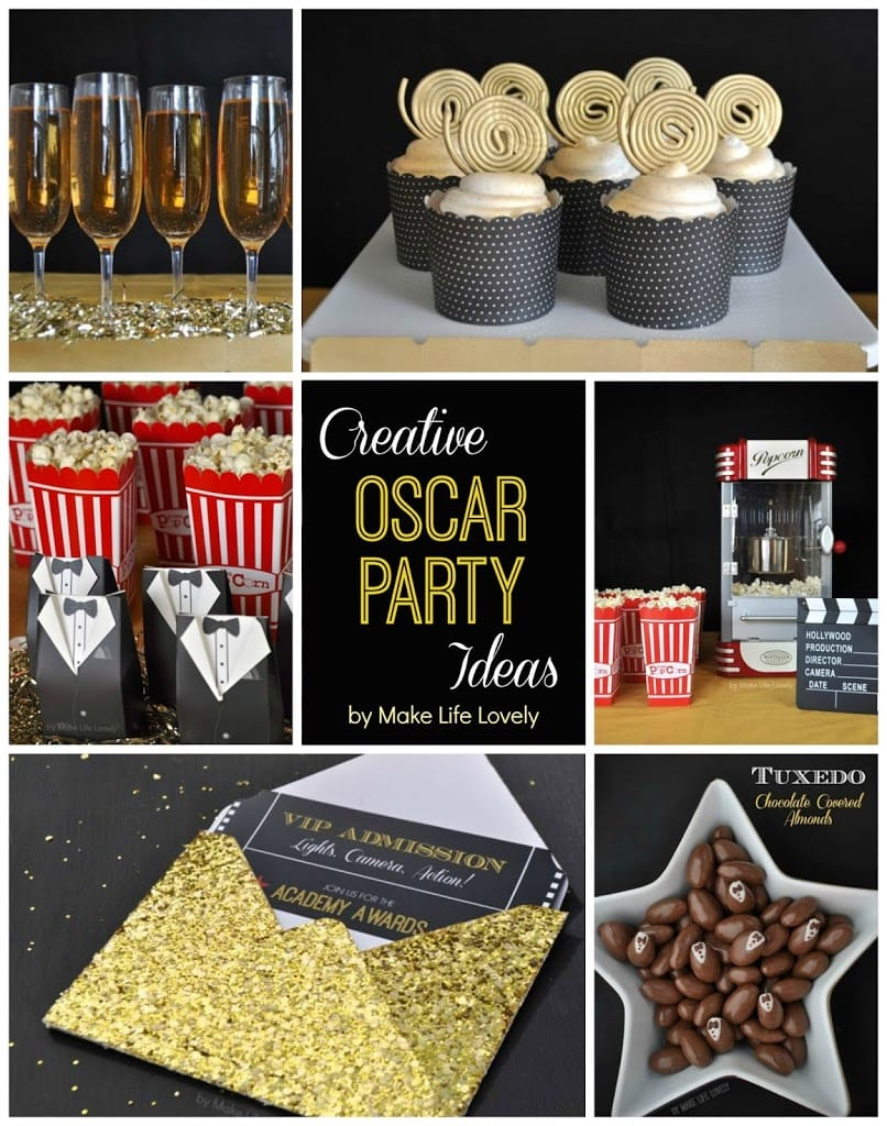 Free Printable Oscar Party Invitations DIY Gold Glitter – Hollywood Themed Party Invitations