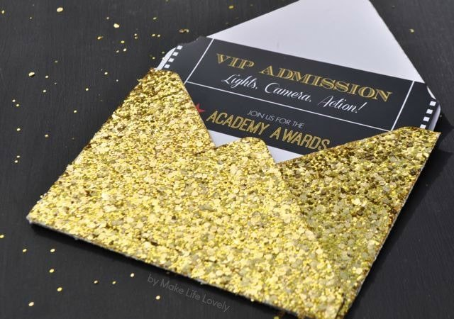 Free Printable Oscar Party Invitations DIY Gold Glitter