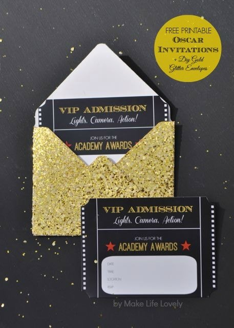 Free Printable Oscar Party Invitations + DIY Gold Glitter Envelopes - Make Life Lovely