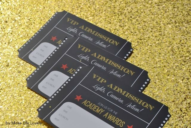free printable oscar party invitations diy gold glitter envelopes - Make Party Invitations