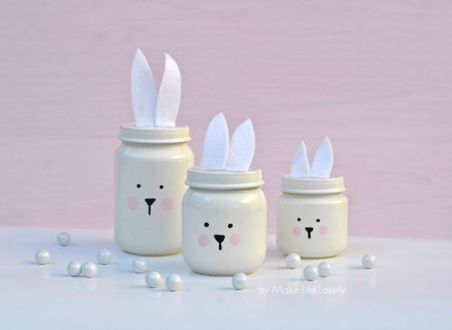 Painted Easter Bunny Jars Make Life Lovely