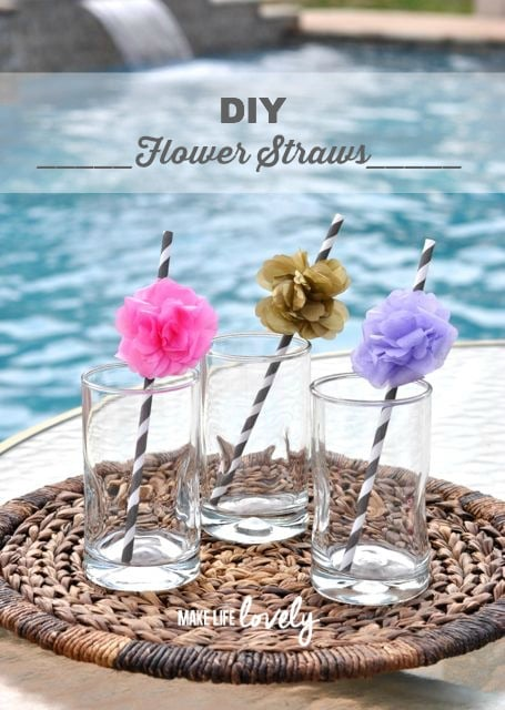 DIY Tissue Paper Flower Straws for a Party