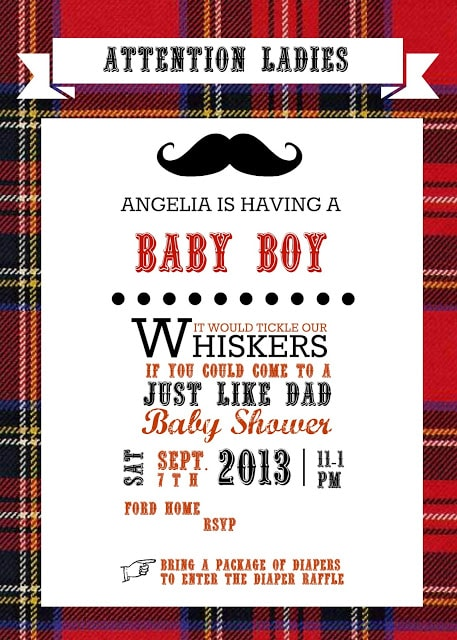 Just like daddy flannel and facial hair baby shower invitations baby boy shower save filmwisefo
