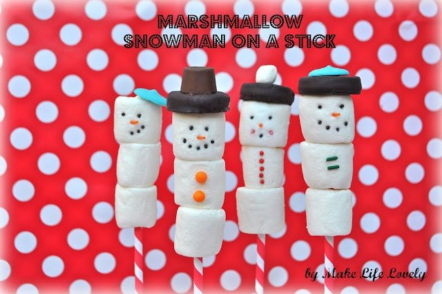 Marshmallow snowman on a stick