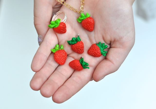 DIY Strawberry Jewelry Made from Clay