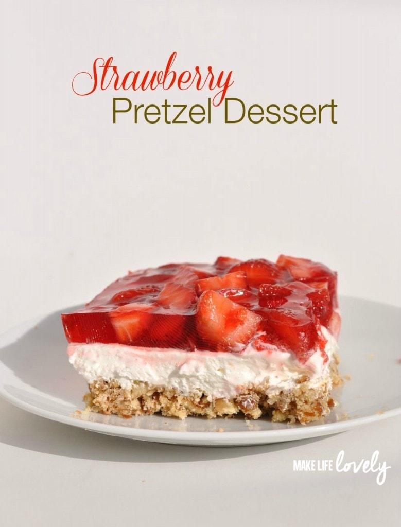 Strawberry Pretzel Salad Dessert with three layers