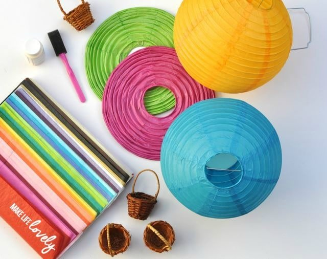 Supplies to make paper lantern hot air balloons