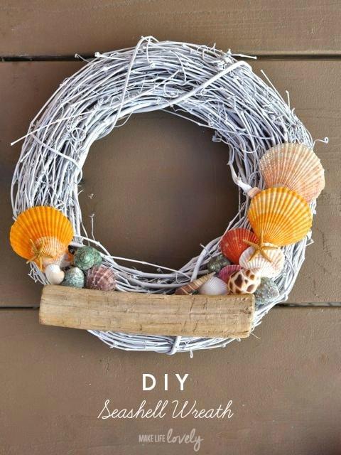 DIY Seashell Wreath   by Make Life Lovely