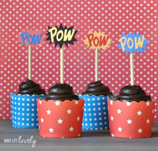 DIY Superhero party cupcake toppers with Sizzix Modern Surrealist collection