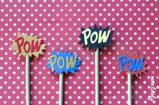 Superhero party diy cupcake toppers