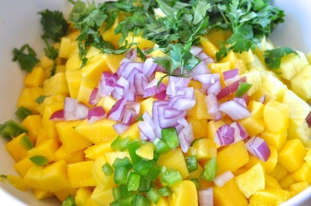 chopped pineapple, mango, red onion