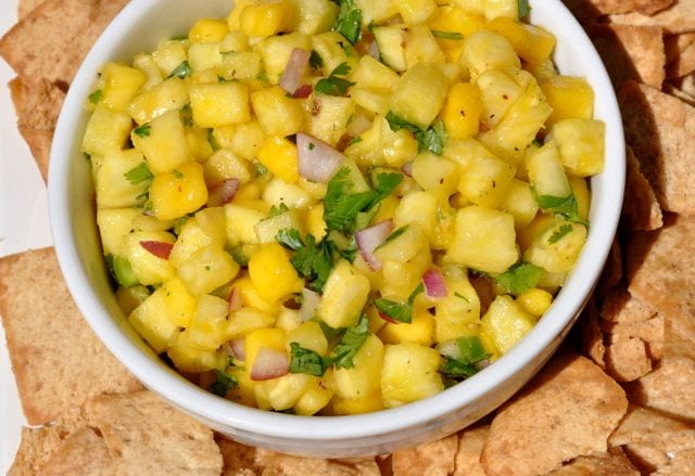 pineapple mango salsa with chips
