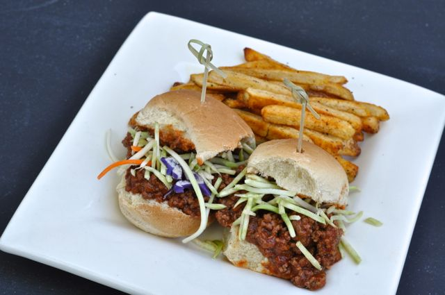 sloppy joes on plate with French fries