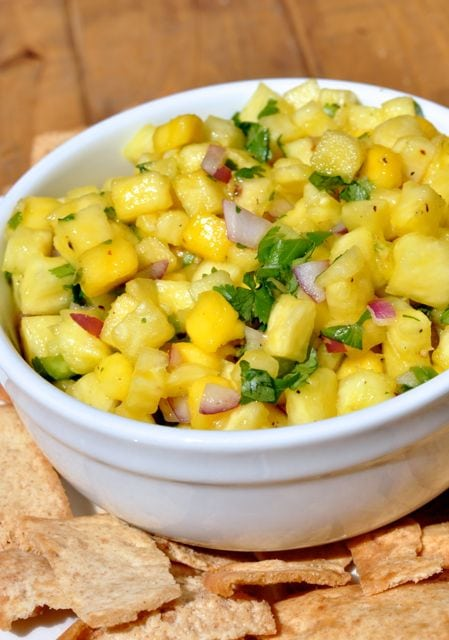 chopped pineapple and mango salsa in bowl