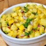 pineapple mango salsa in bowl