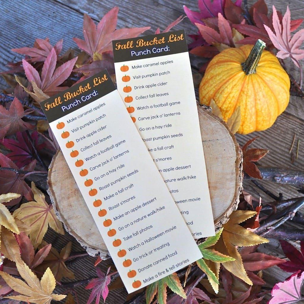 Fall Bucket List Punch Card | Make Life Lovely
