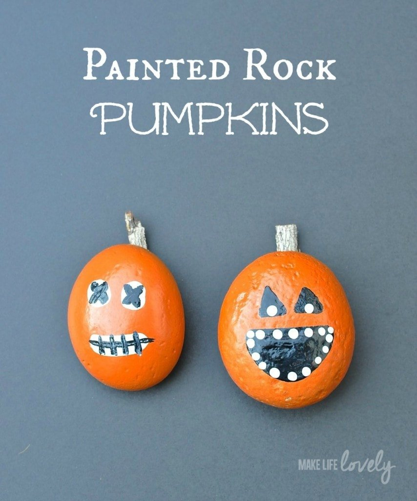 Easy rock pumpkins for kids
