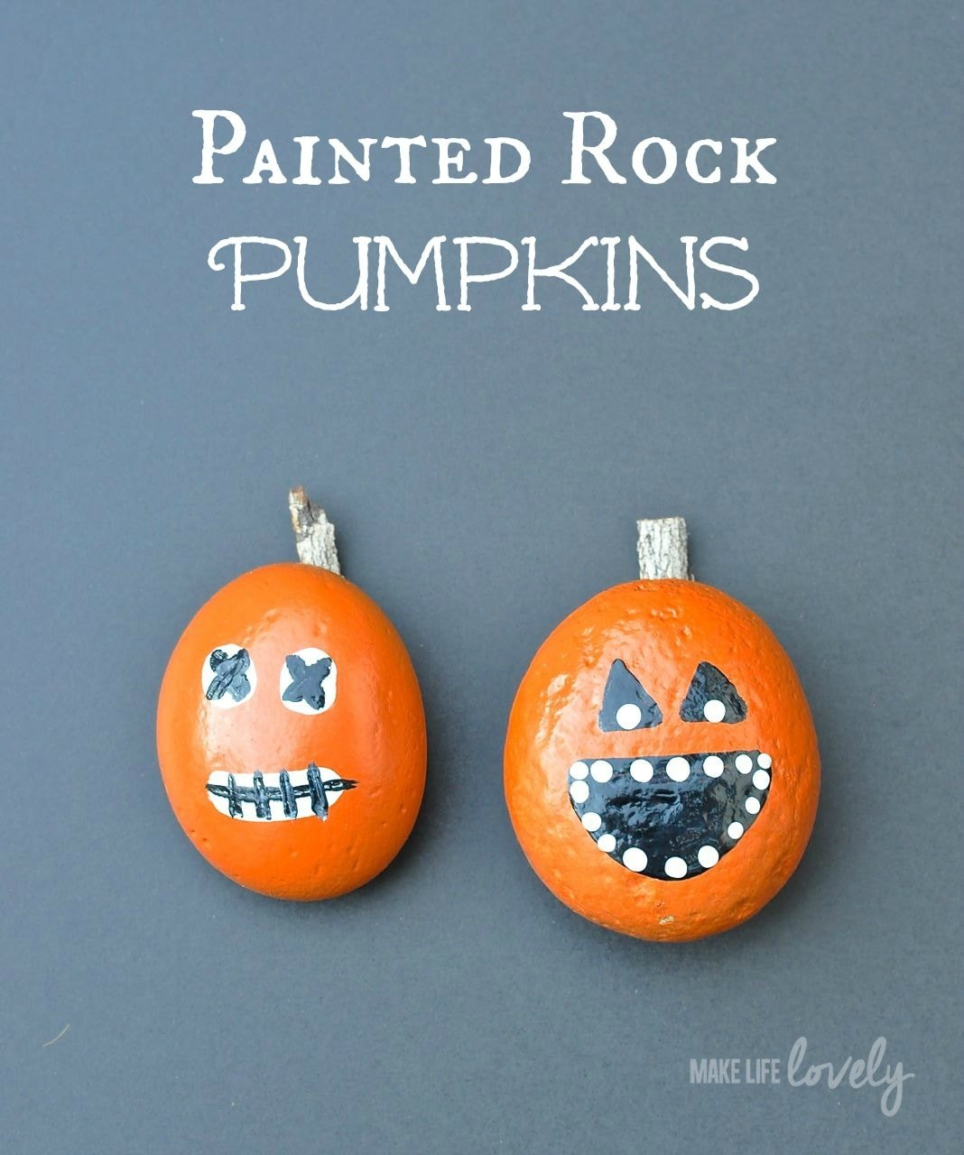 painted pumpkin rock craft rock pumpkin craft make lovely 5060