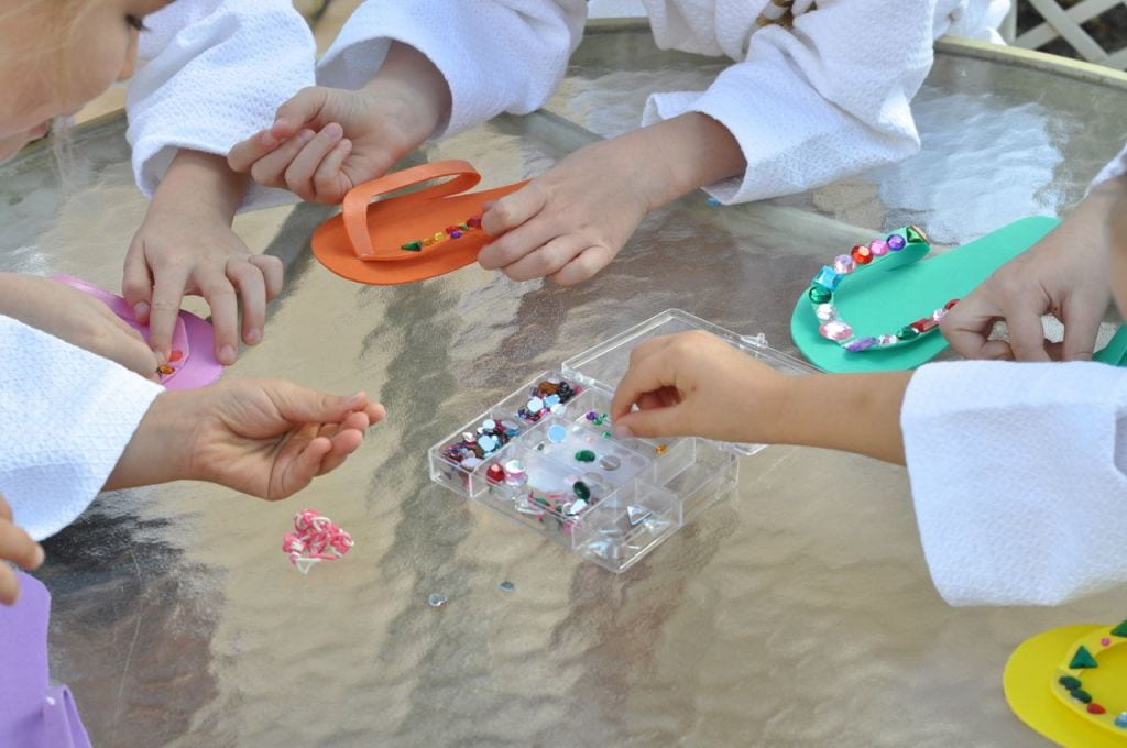 DIY Spa Sandals for girls spa party