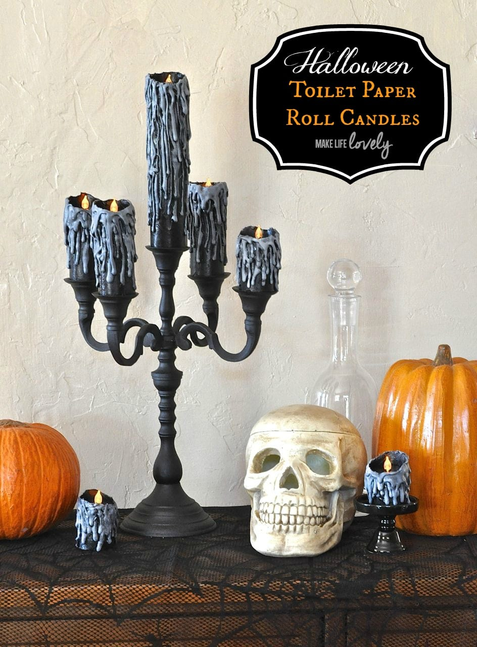 awesome halloween candles made from toilet paper rolls and a glue gun