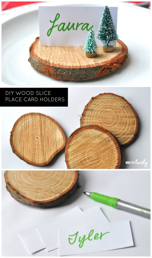 DIY Wood Slice Place Card Holders