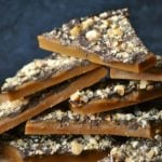 English toffee stacked with toffee, chocolate, and chopped nuts
