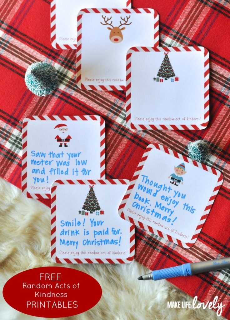 Free Printable Random Acts of Kindness Cards for the Holidays
