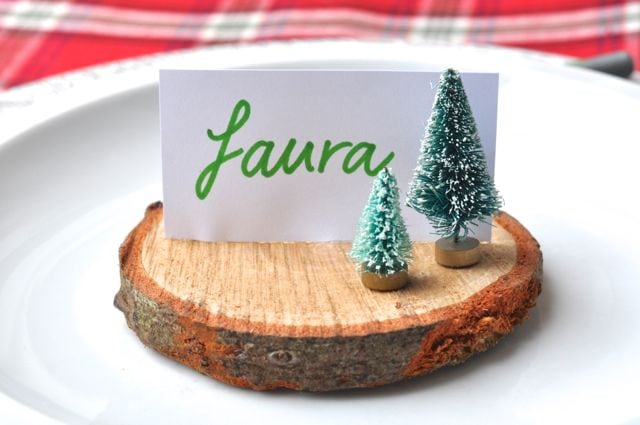 Wood slice placecard holders