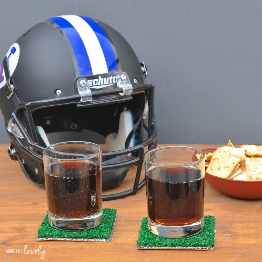DIY Super Bowl Football Coasters