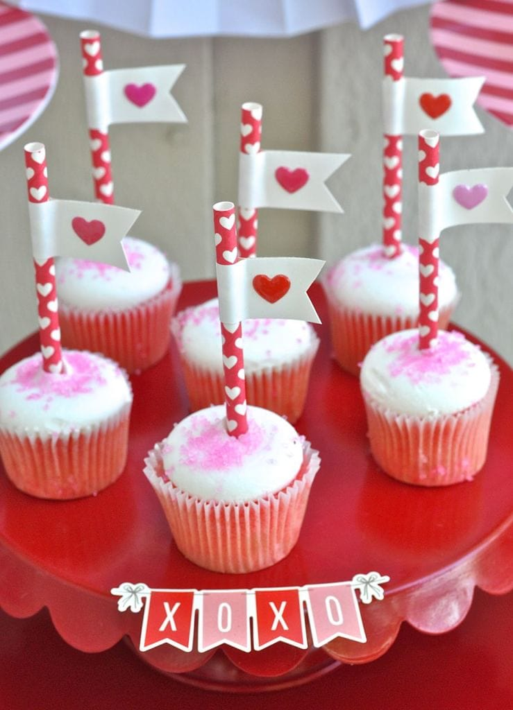 Heart Flag Cupcake Toppers