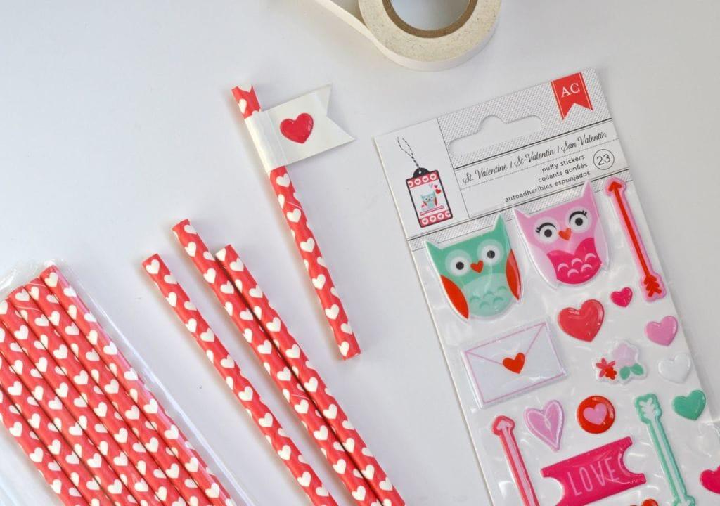 Heart Flag Straws DIY