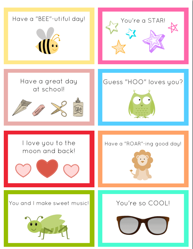 graphic regarding Printable Lunchbox Notes identified as No cost Printable Lunchbox Notes - Generate Everyday living Beautiful