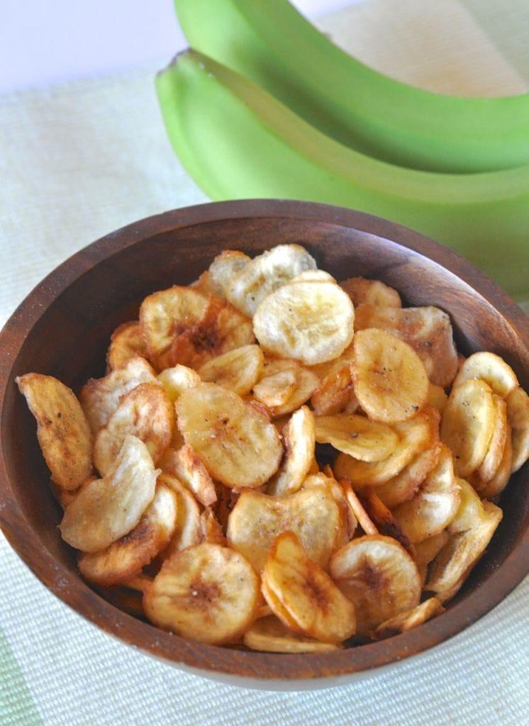 Banana chips fried in coconut oil