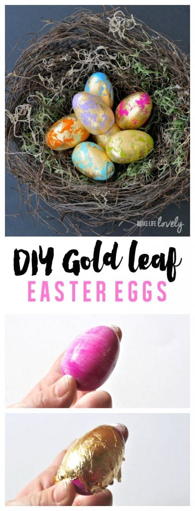 DIY Gold leaf Easter eggs. These eggs look amazing and are SO easy to make!
