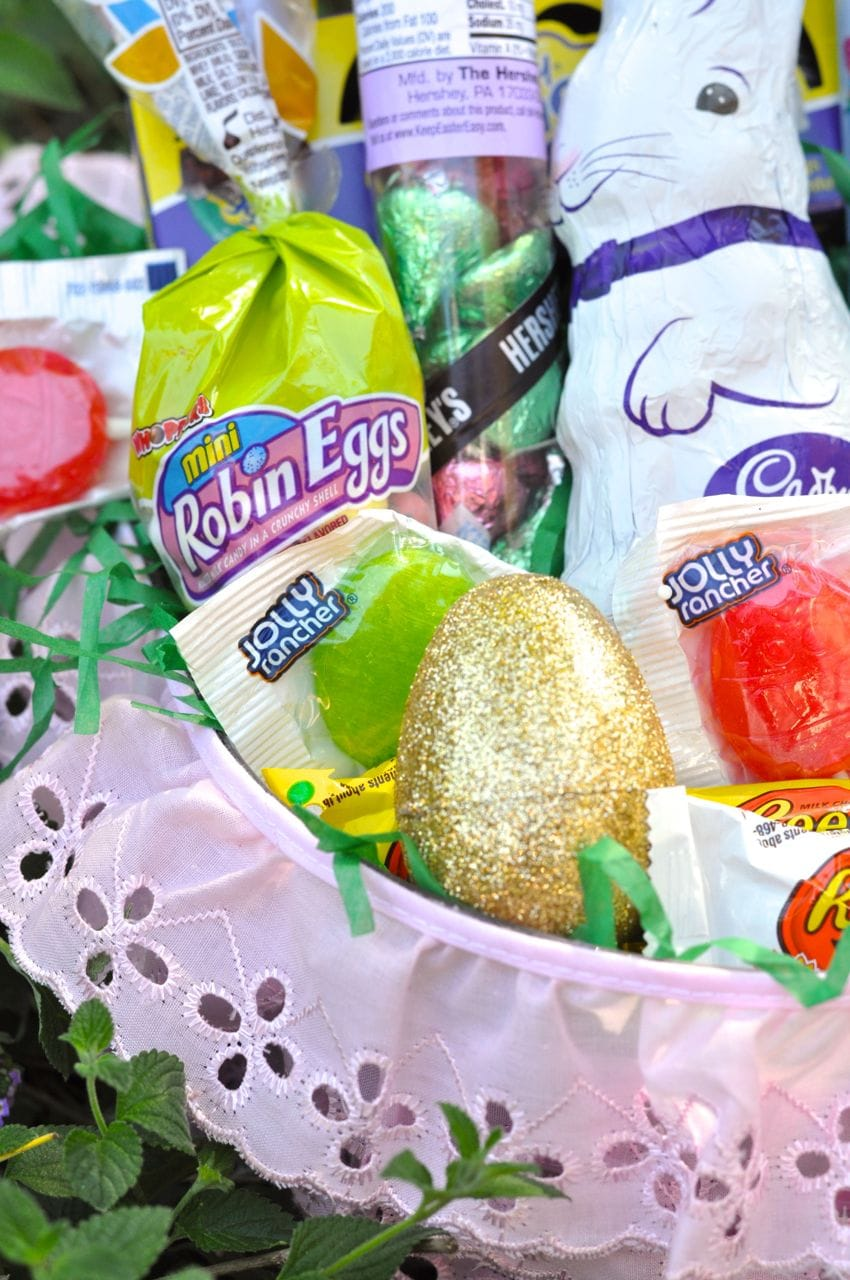 DIY pink Easter basket for girls with candy inside