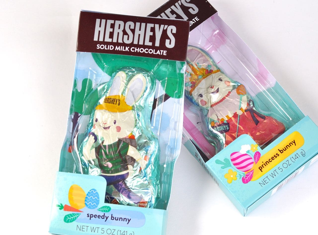 Hershey's Easter candy in an Easter basket for girls