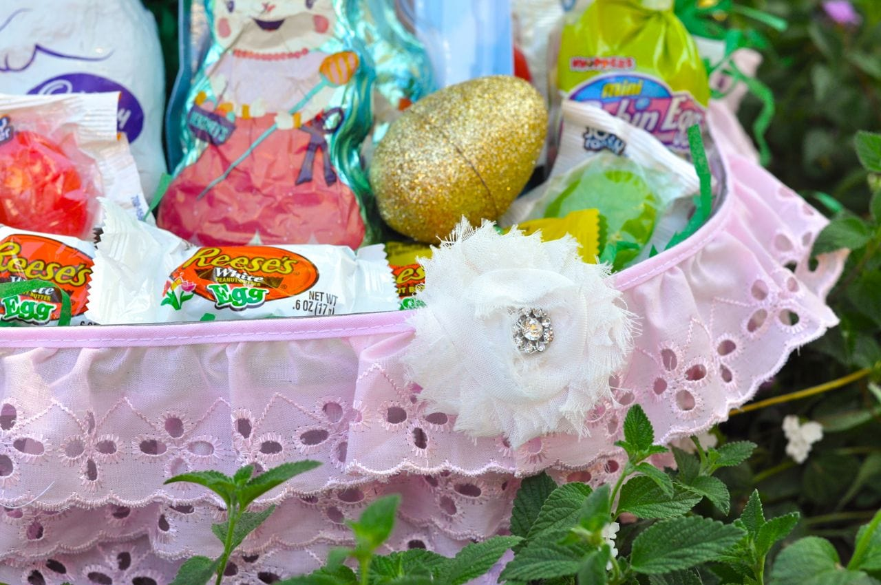 Cute DIY Easter basket for girls made from a clear bowl and pink ruffle lace