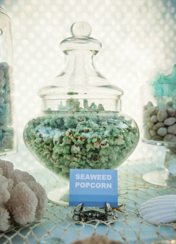 Seaweed popcorn for an Under the Sea Ocean Party